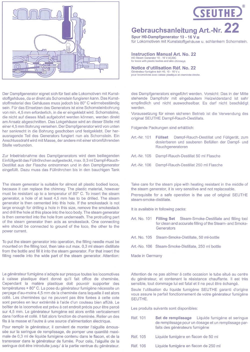 oder Wechselspannung Seuthe 9 H0 Steck-Dampfgenerator 8-14 V Gleich