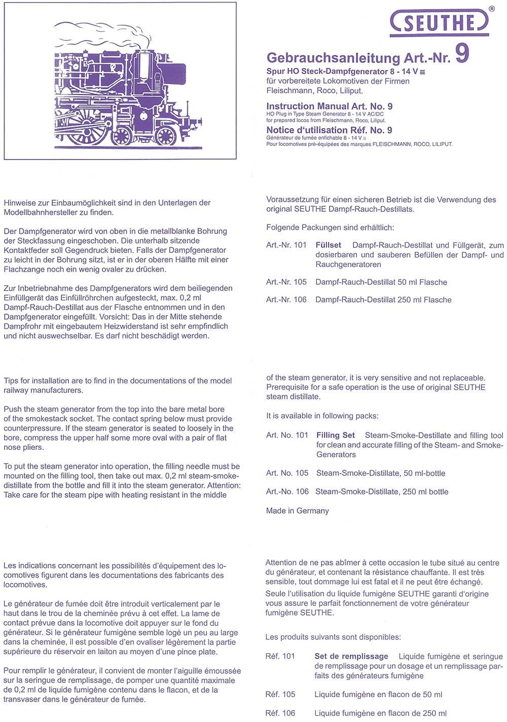 11 Steck-Dampfgenerator für Lokomotiven 16-22 V inkl Füllset neu H0 Seuthe Nr